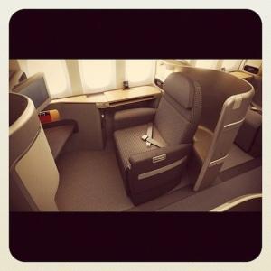 Foto de los nuevos asientos de American Airlines AA publicada en Instagram