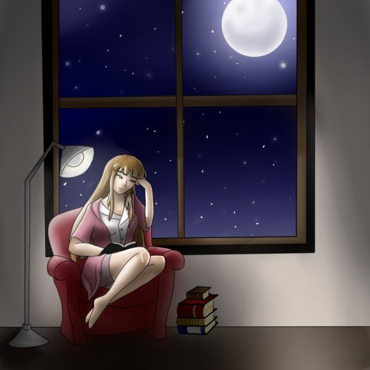leyendo bajo luna